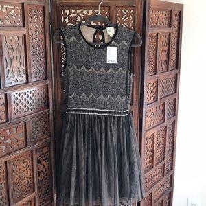 Anthropologie Grey Sweater Tulle Sleeveless Dress